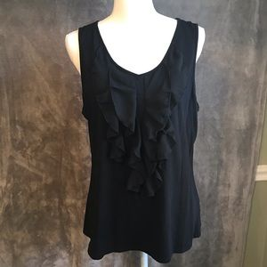 Coldwater Creek Black Ruffle Front Tank Top XL 16